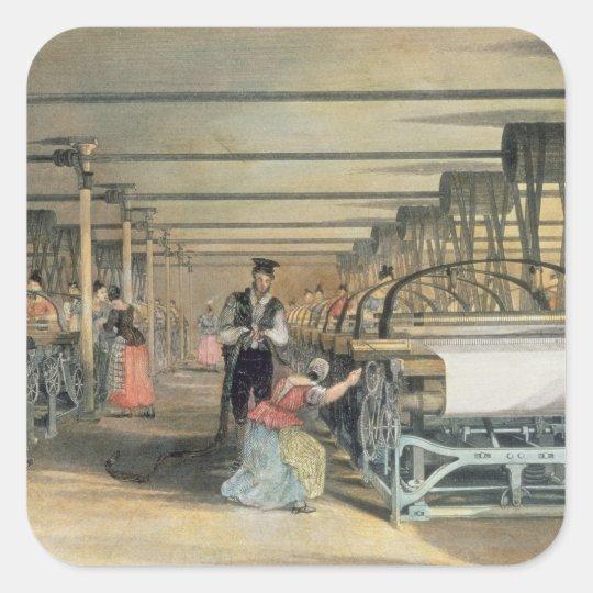 Telar de poder que teje, 1834 pegatina cuadrada