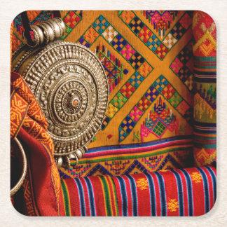 Telas, Bhután Posavasos Desechable Cuadrado