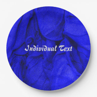 telas de la arruga, azules plato de papel 22,86 cm