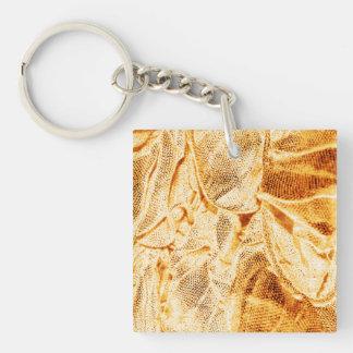 telas de la arruga, luz tenue de oro llavero cuadrado acrílico a doble cara