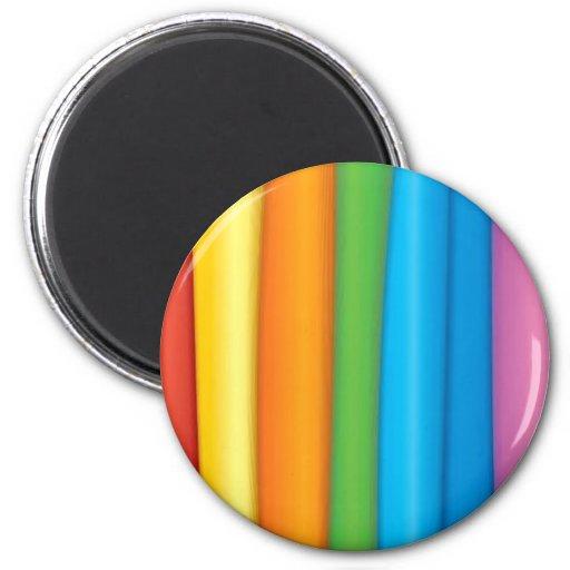 Telas del arco iris imán redondo 5 cm