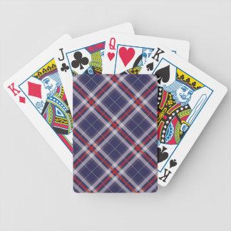Telas escocesas, controles y tartanes en rojo y az baraja cartas de poker