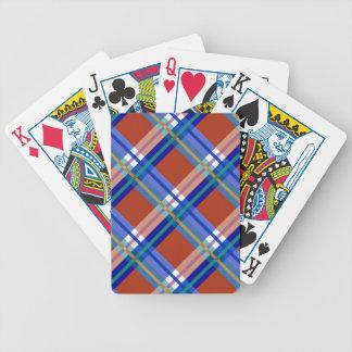 Telas escocesas, controles y tartanes en rojo y az barajas de cartas