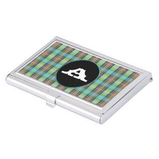 Telas escocesas verdes de Organge de la turquesa Caja De Tarjetas De Presentación