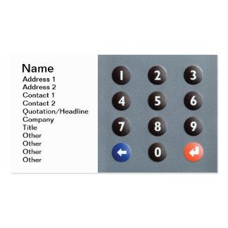 Telclado numérico numérico tarjetas de visita