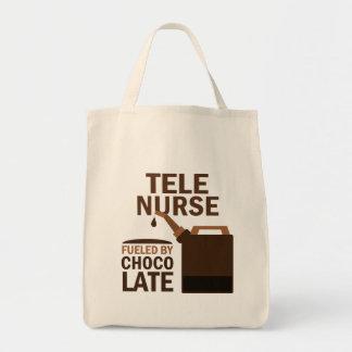 Tele Nurse (Funny) Chocolate Canvas Bags