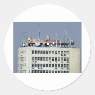 telecommunication antenna classic round sticker