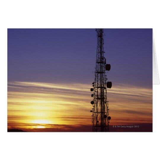 Telecommunications mast at sunset card