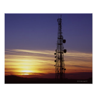 Telecommunications mast at sunset poster