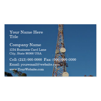 Telecommunications tower under a blue sky business card