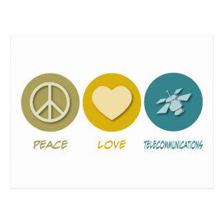 Telecomunicaciones del amor de la paz tarjetas postales
