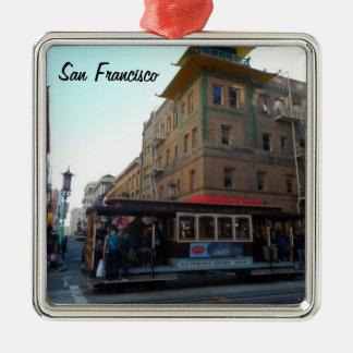 Teleférico de San Francisco Adorno Navideño Cuadrado De Metal