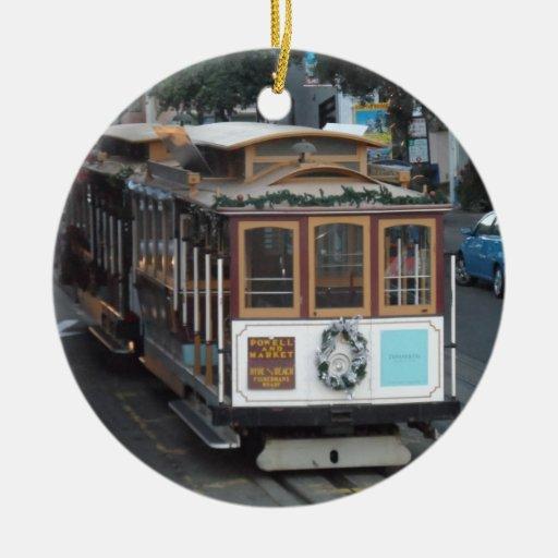 Teleférico de San Francisco Adorno Navideño Redondo De Cerámica