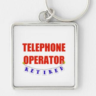 Telefonista jubilada llavero cuadrado plateado