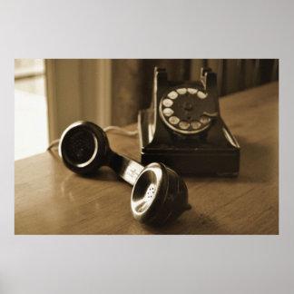 Teléfono antiguo póster