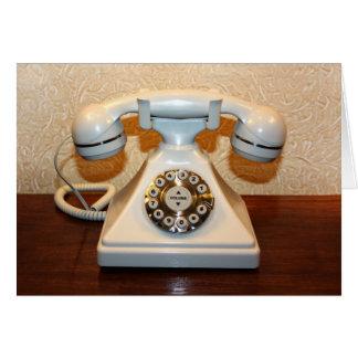 Teléfono blanco de marcado manual del viejo vintag felicitación