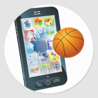 Teléfono celular de la bola del baloncesto pegatina redonda