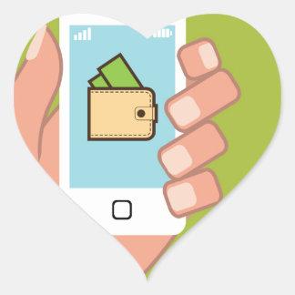 Teléfono de la cartera disponible pegatina en forma de corazón