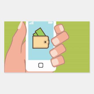 Teléfono de la cartera disponible pegatina rectangular
