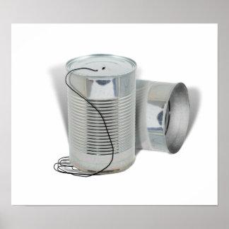 Teléfono de la lata (puede usted AHORA oírme?) Póster
