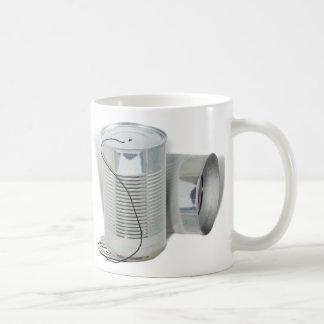 Teléfono de la lata (puede usted AHORA oírme?) Taza Básica Blanca