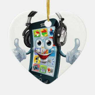 Teléfono de los auriculares de la música adorno de cerámica en forma de corazón