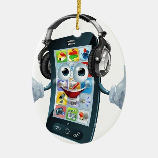 Teléfono de los auriculares de la música adorno ovalado de cerámica