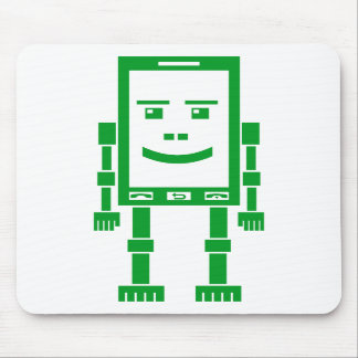 Teléfono de Robo - verde de hierba en blanco Alfombrilla De Raton