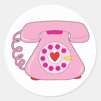 Teléfono del corazón pegatina redonda