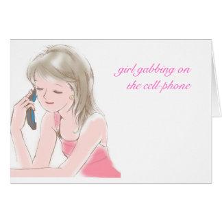 teléfono del portable del chica tarjeta de felicitación