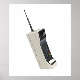 Teléfono móvil de la radio del vintage poster