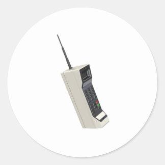 Teléfono móvil de la radio del vintage pegatina redonda