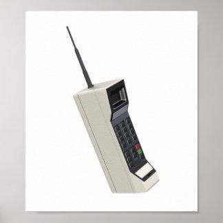 Teléfono móvil de la radio del vintage póster