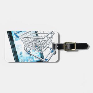 Teléfono móvil del carro de la compra etiquetas para equipaje