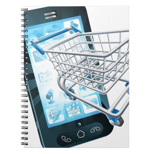 Teléfono móvil del carro de la compra libretas