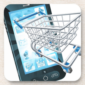 Teléfono móvil del carro de la compra posavasos