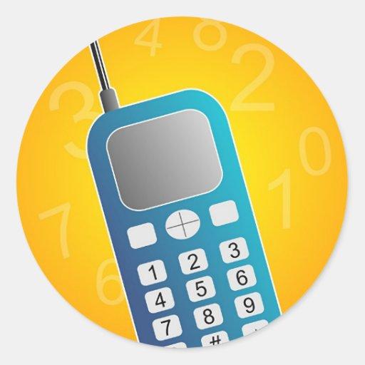 Teléfono móvil etiqueta redonda