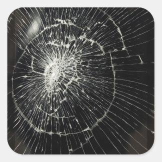 Teléfono móvil quebrado pegatina cuadrada