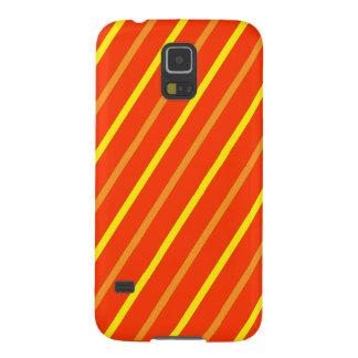 Teléfono rayado amarillo, rojo, anaranjado fundas de galaxy s5