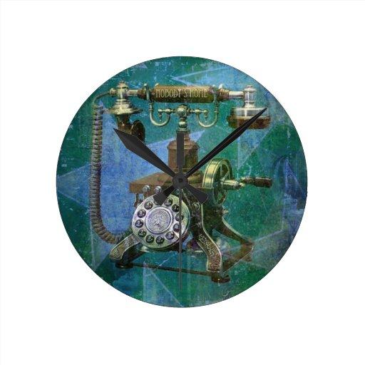 Teléfono retro azul Art. Reloj