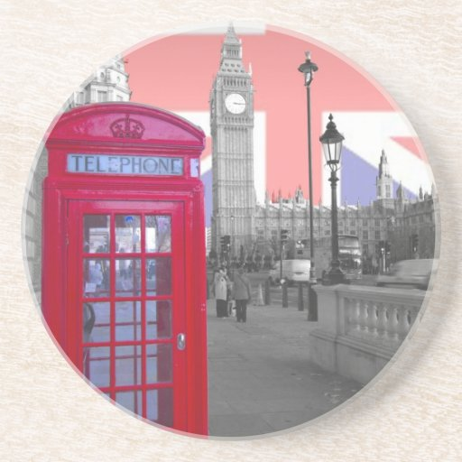 Teléfono rojo Big Ben Posavasos Personalizados