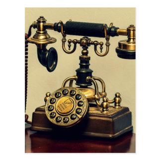 Teléfono rotatorio de cobre amarillo del teléfono tarjeta postal