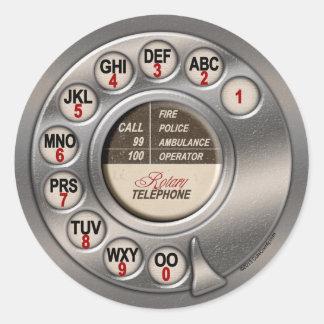 Teléfono rotatorio del vintage pegatina redonda