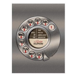 Teléfono rotatorio del vintage postales