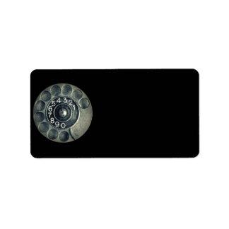 teléfono rotatorio original etiqueta de dirección