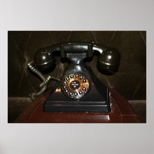 Teléfono viejo de la terminal de marcado manual de póster