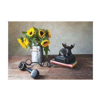 Teléfono y girasoles impresión en lienzo