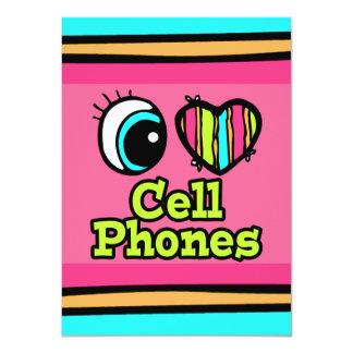 """Teléfonos celulares brillantes del amor del invitación 4.5"""" x 6.25"""""""