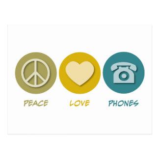 Teléfonos del amor de la paz tarjetas postales