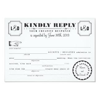 Telegram Mad Libs Response Card Black and White Custom Invites